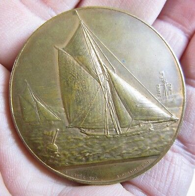 Antique 1895 Bronze French Yacht Sailing Medal Medallion Hentsch Lavee/Desaide