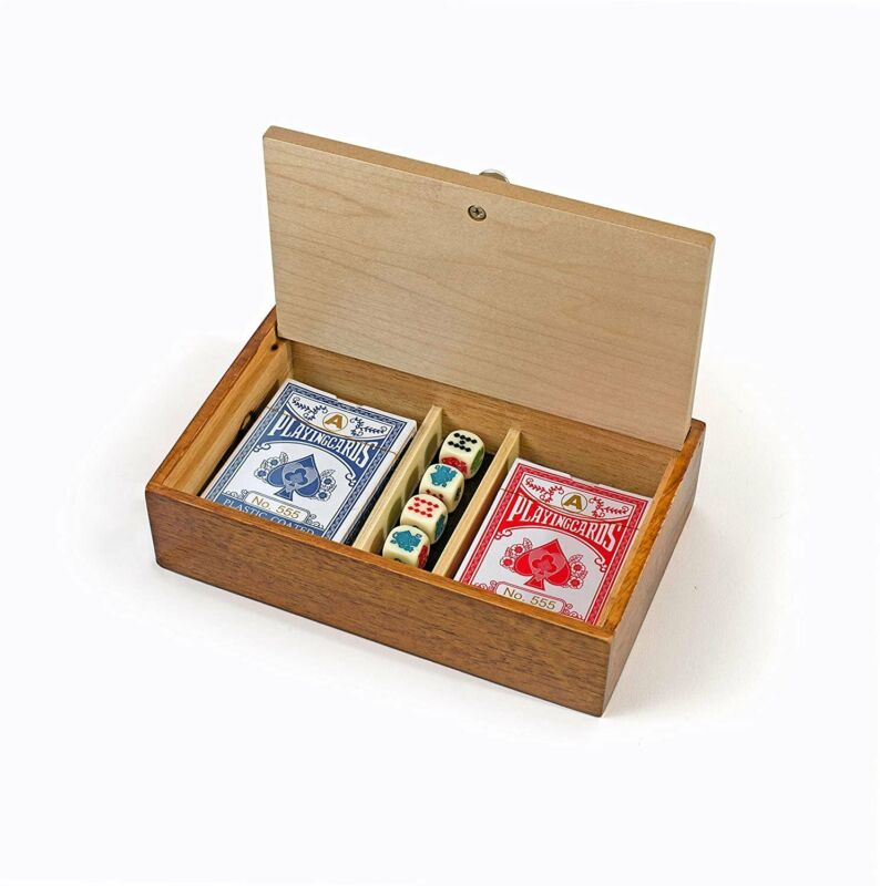 WE Games Aces & Spades Wood Card & Poker Dice Box