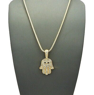 Hand Pendant Necklace (NEW ICED OUT HAMSA HAND PENDANT &2mm/24