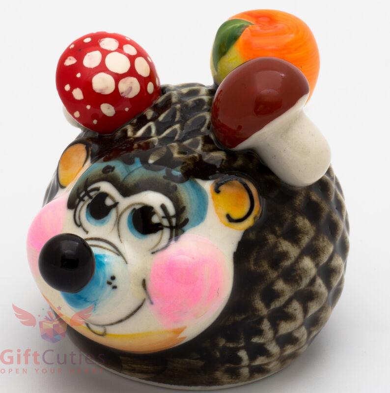 Russian Gzhel porcelain Hedgehog with mushrooms & apple figurine handmade