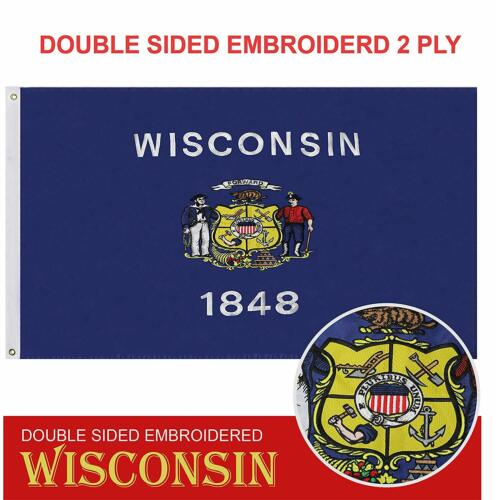 Wisconsin State Flag 210D Embroidered Polyester 3x5 Ft - Double Sided 2ply