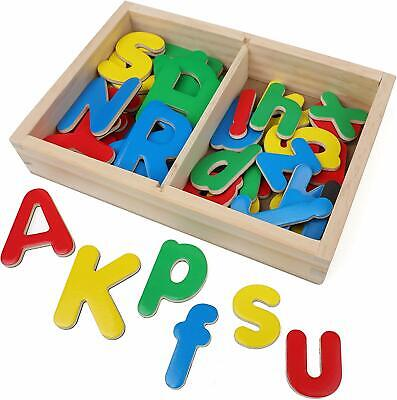 IQ Toys Wooden ABC Magnets,52 Magnetic Upper & Lowercase Letters with Wooden Box