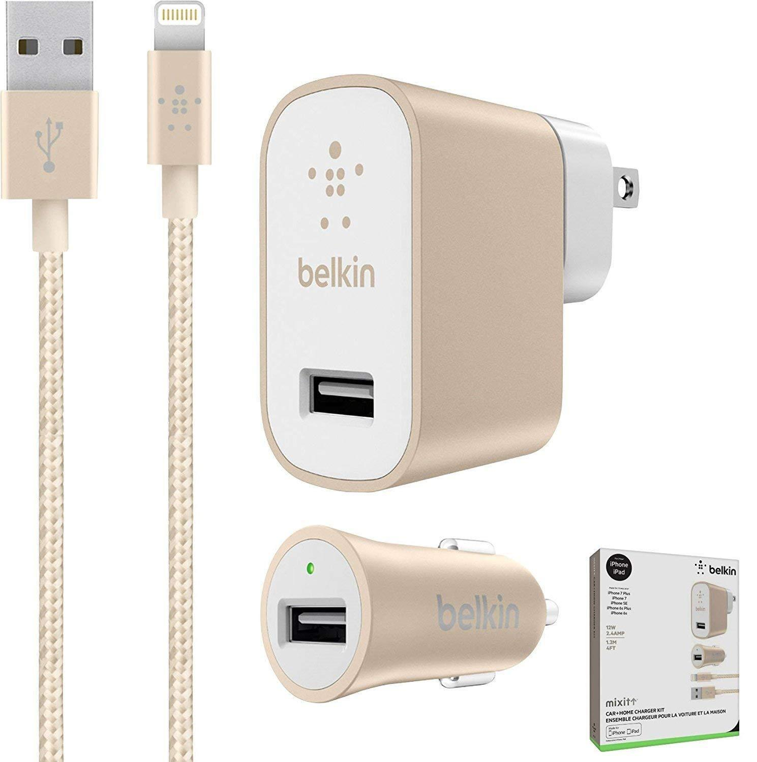 Belkin Car and Wall Charger with 4 Ft Lightning Cable for iP