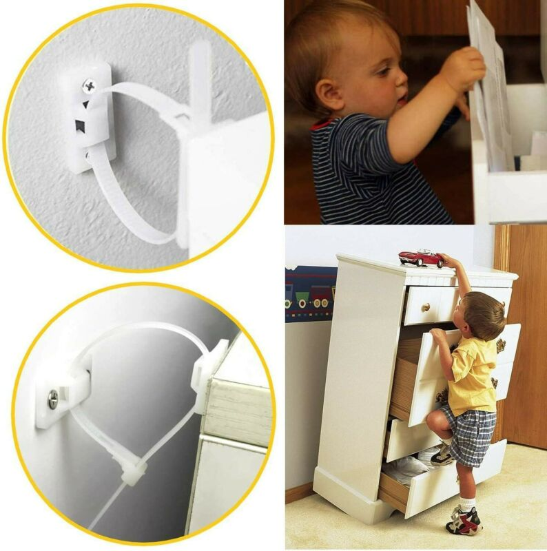 Baby Proofing Anti-Tipping Wall Anchor Furniture Straps Brackets 10 Pcs