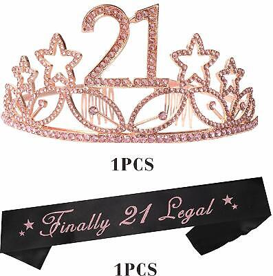 21st Birthday Party Decorations Supplies (21st Birthday Tiara and Sash Pink| Happy 21st Birthday Party Supplies| Finally)
