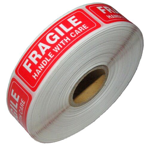 1 Roll 1000 1 x 3 FRAGILE HANDLE WITH CARE Stickers, Easy Peel and Apply