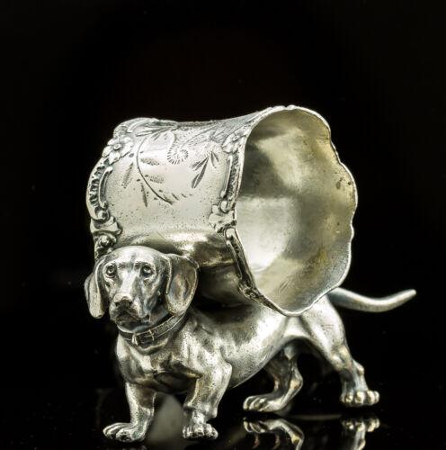 Antique American Figural Napkin Ring/Dachshund/Silver Plate/Victorian/Original