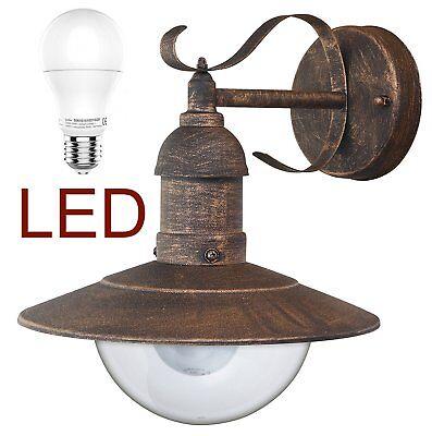 LED Antik-goldene Wand-Außenleuchte Hoflampe Wandlampe IP44 - Rabalux Oslo 8271