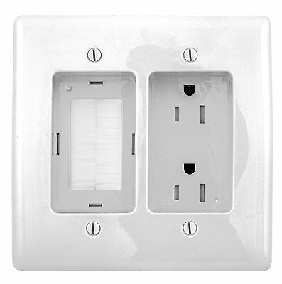 Bryant Electric Rr1512w 2Gang Recessed Tv Connection Outlet Plate With 15 Amp