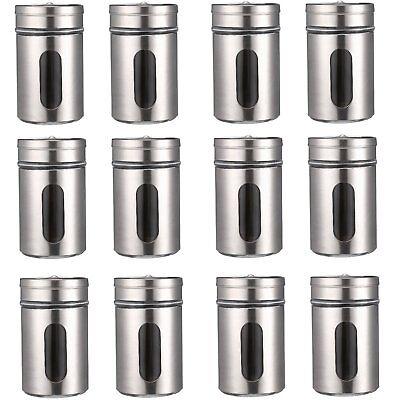 12 Gewürzstreuer Gewürzdosen Silber Gewürz Gläser Behälter Box Streuer Glas Set Unbekannte Star