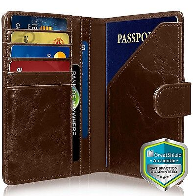 GreatShield RFID Blocking PU Leather 9 Slot Passport Card Holder Wallet Cover