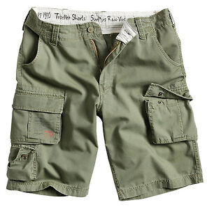 SURPLUS TROOPER SHORTS MENS MILITARY VINTAGE CARGO COMBAT ARMY WASHED COTTON