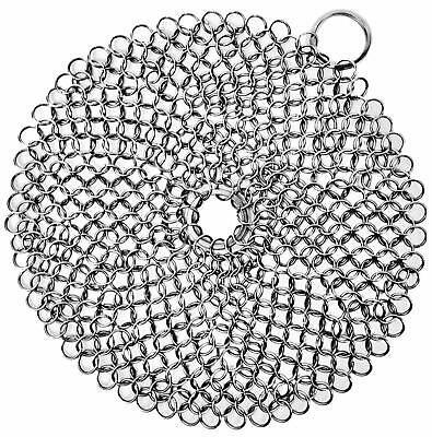 Stainless Steel Chain Mail Scrubber Cleaner For Cast Iron Cookware Will Not Rust ()