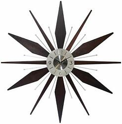 Mid-Century 30 inch Wood and Metal Wall Clock, Walnut Dark Wood Home Decor