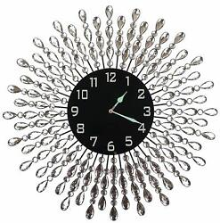 "Lulu Decor, 23.5"" Crystal Drop Metal Wall Clock, Black Glass Dial 9.50"""