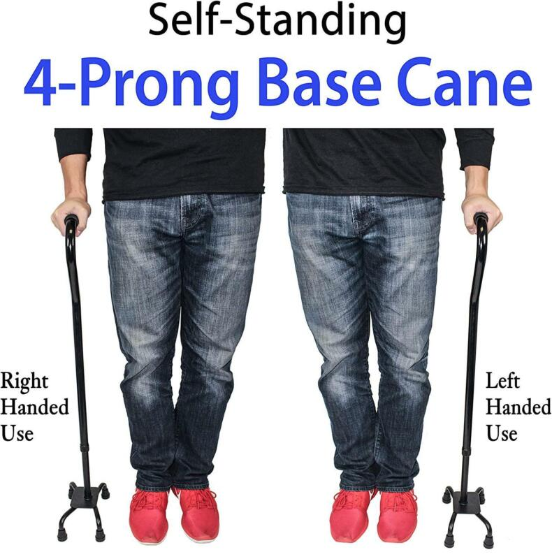 RMS Quad Cane - Adjustable Walking 4-Pronged Stability