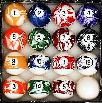 Pool Record Balls Custom Marble Swirl Style Billiard Game Room Cue Size Power