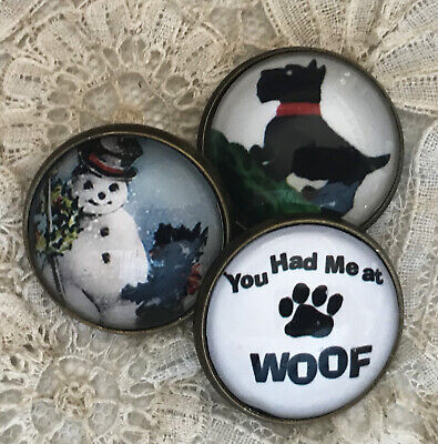"SCOTTY DOG 7/8"" Glass Dome BUTTON Set of 3 Vintage Christmas Card Snowman Gift"