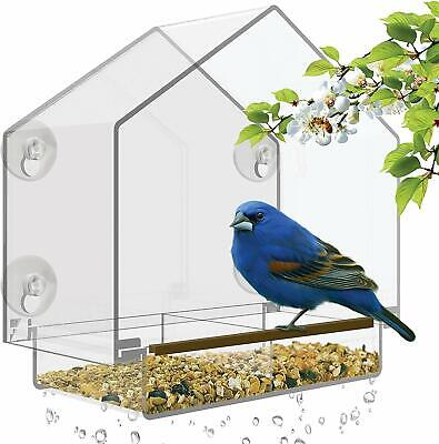 BEST Window Bird Feeder - Large Bird House for Outside. Removable Sliding (Best Bird Feeder For Large Birds)