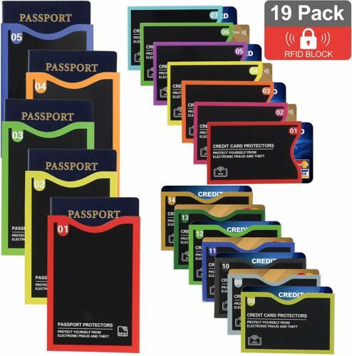 RFID Blocking Sleeve 14 Credit Card Holder & 5 Passport Protector Identity Theft