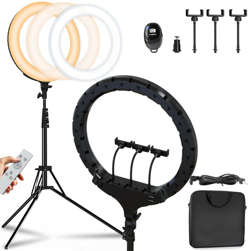 """19"""" LED Ring Light Kit with Stand Dimmable 3200-5600K for Makeup Phone Camera"""