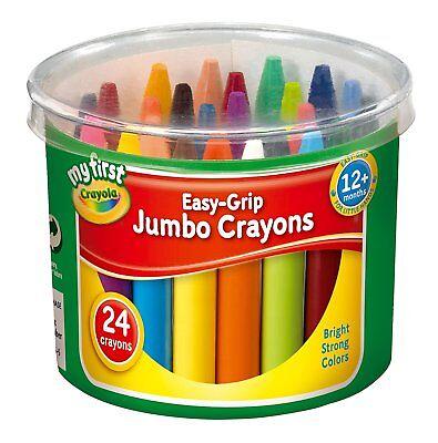 Tub 24 Crayola My First Jumbo Wax Crayons Kids Easy Grip Chunky Colours Drawing