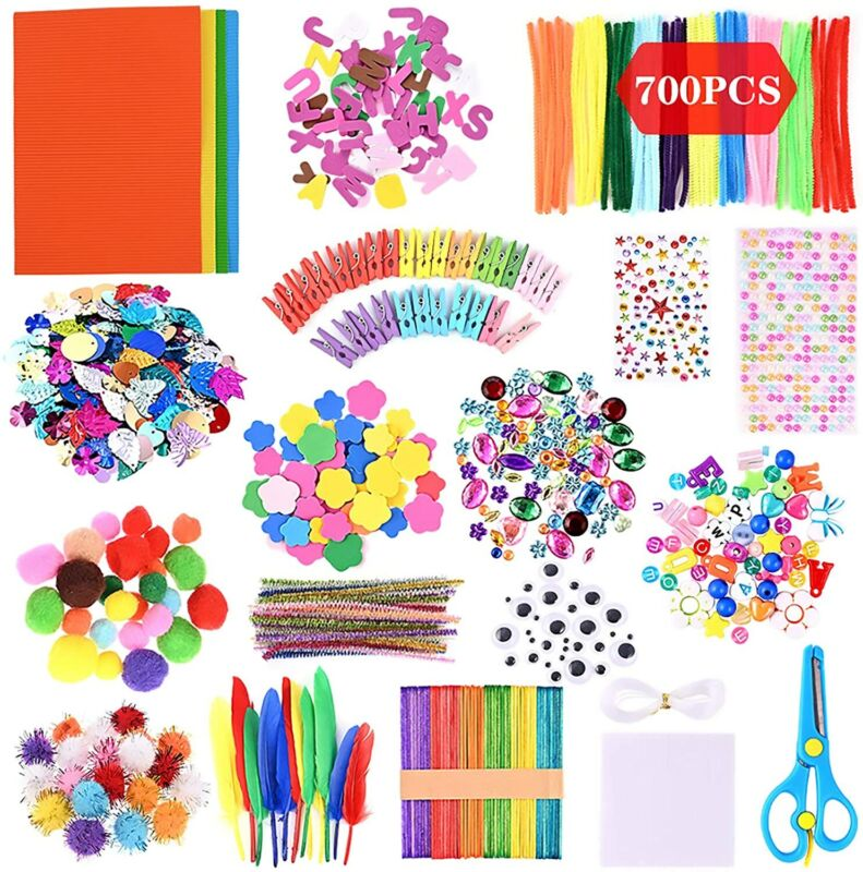 700 pieces of handmade pipe cleaner chenille line mini pompom sticky eyes