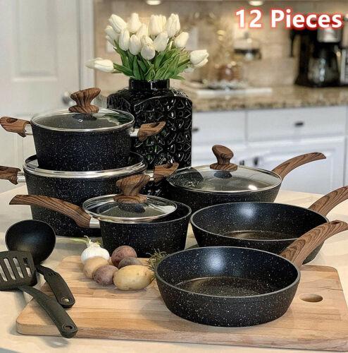 12 Pieces Kitchen Pots & Pans Set Nonstick Cookware Set Granite Coated with Lids