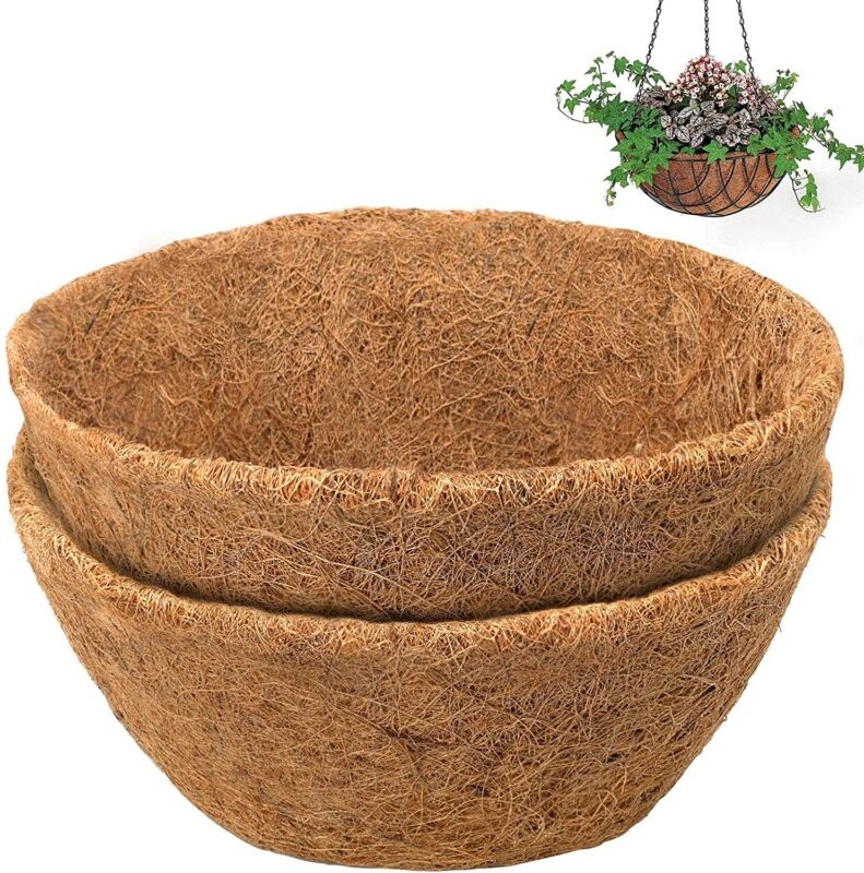 """2PCS 10"""" Round Coco Liners for Hanging Basket Coconut Fiber Planter Replacement"""