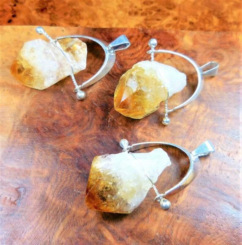 Bulk Wholesale Lot Of 5 Pieces - Citrine Silver Arch - Pendant Charm Necklace