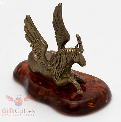 Solid Brass Amber Figurine of Pegasus Horse IronWork