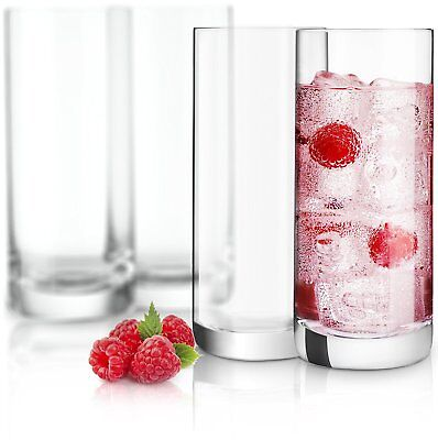 JoyJolt Stella Lead Free Crystal Highball Glass Set of 4, 14.2 Oz Tumblers