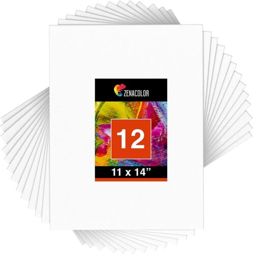 """Zenacolor Set of 12 11"""" x 14"""" Canvas Boards for Painting & Drawing Art (NEW)"""
