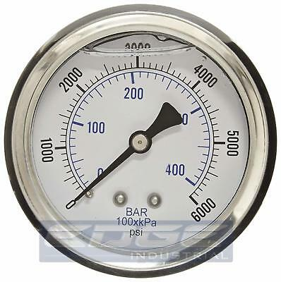 Liquid Filled Pressure Gauge 0-6000 Psi 2.5 Face 14 Back Mount Wog