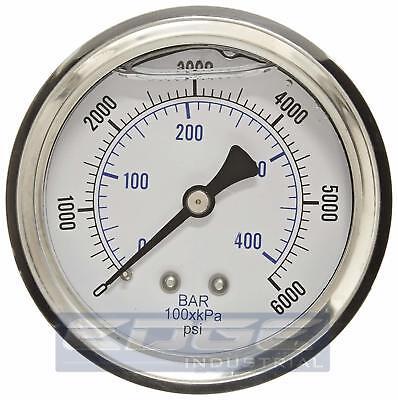 Liquid Filled Pressure Gauge 0-6000 Psi 2.5 Face 14 Back Mount Wog