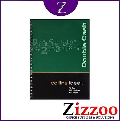 COLLINS IDEAL DOUBLE CASH BOOK A5 SIZE AND SPIRAL VERSION BOOK KEEPING 120 PAGES