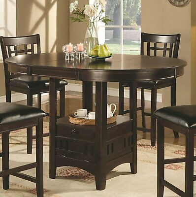 Lavon Oval Counter Height Drop Leaf Dining Table Espresso 102888