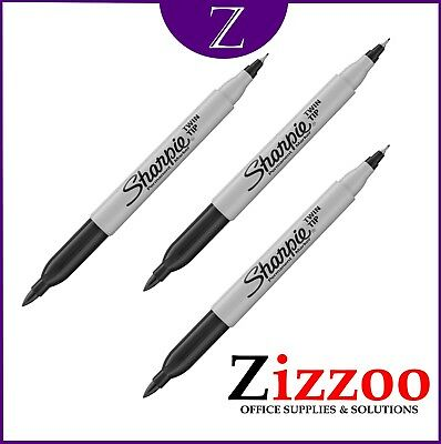 Sharpie Twin Tip Marker Pen Black With Fine And Ultra Fine Tip Pack Of 3