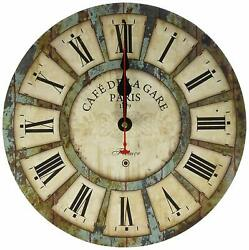 Cafe De La Gare Paris Vintage Wood Retro Style 12 Wall Clock Roman Numerals