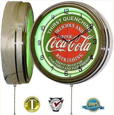 "16"" Drink Coca-Cola Thirst Quenching Coke Green Sign Neon Clock"