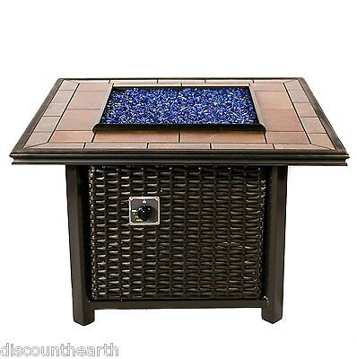square wicker fire pit table outdoor in