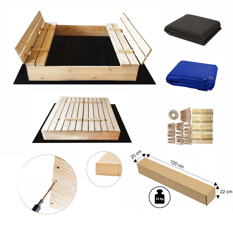 Top Premium Sandkasten Sandbox mit Sitzbänken Deckel Sandkiste  120x120 140x140