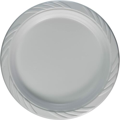 200 White Plastic Party Plates Disposable Dinner Wedding Dishes Serving 9 Inch