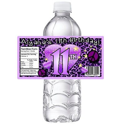 PURPLE LEOPARD PRINT CUSTOM BIRTHDAY PARTY FAVORS WATER BOTTLE LABELS WRAPPERS