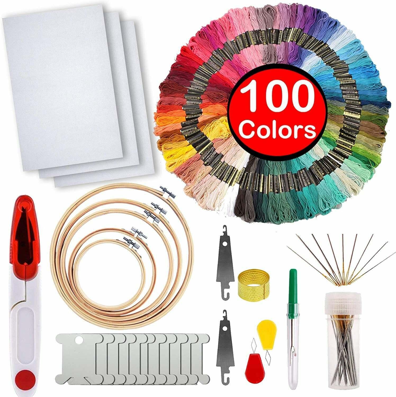 Embroidery Starter Kit - Cross Stitch Tool Kit - 100 Colors,