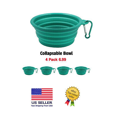 Collapsible Silicone Dog Bowls, 4 Pack,Expandable Pet Food & Water Dishes