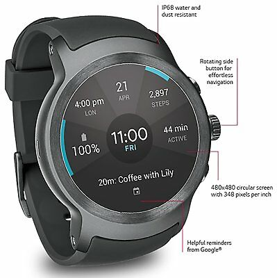 LG Attend Caper 4G LTE W280A GSM UNLOCKED Smartwatch w/ Android Wear 2.0 Titanium