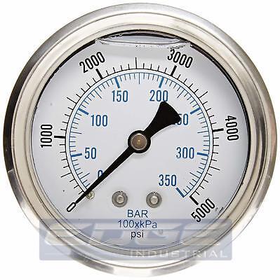 Liquid Filled Pressure Gauge 0-5000 Psi 2.5 Face 14 Back Mount Wog