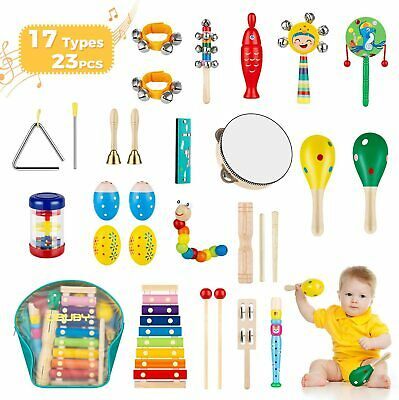 Obuby Kids Musical Instruments Sets 17 Types 23 pcs Percussion Instruments
