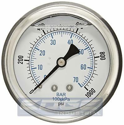 Liquid Filled Pressure Gauge 0-1000 Psi 2.5 Face 14 Back Mount Wog